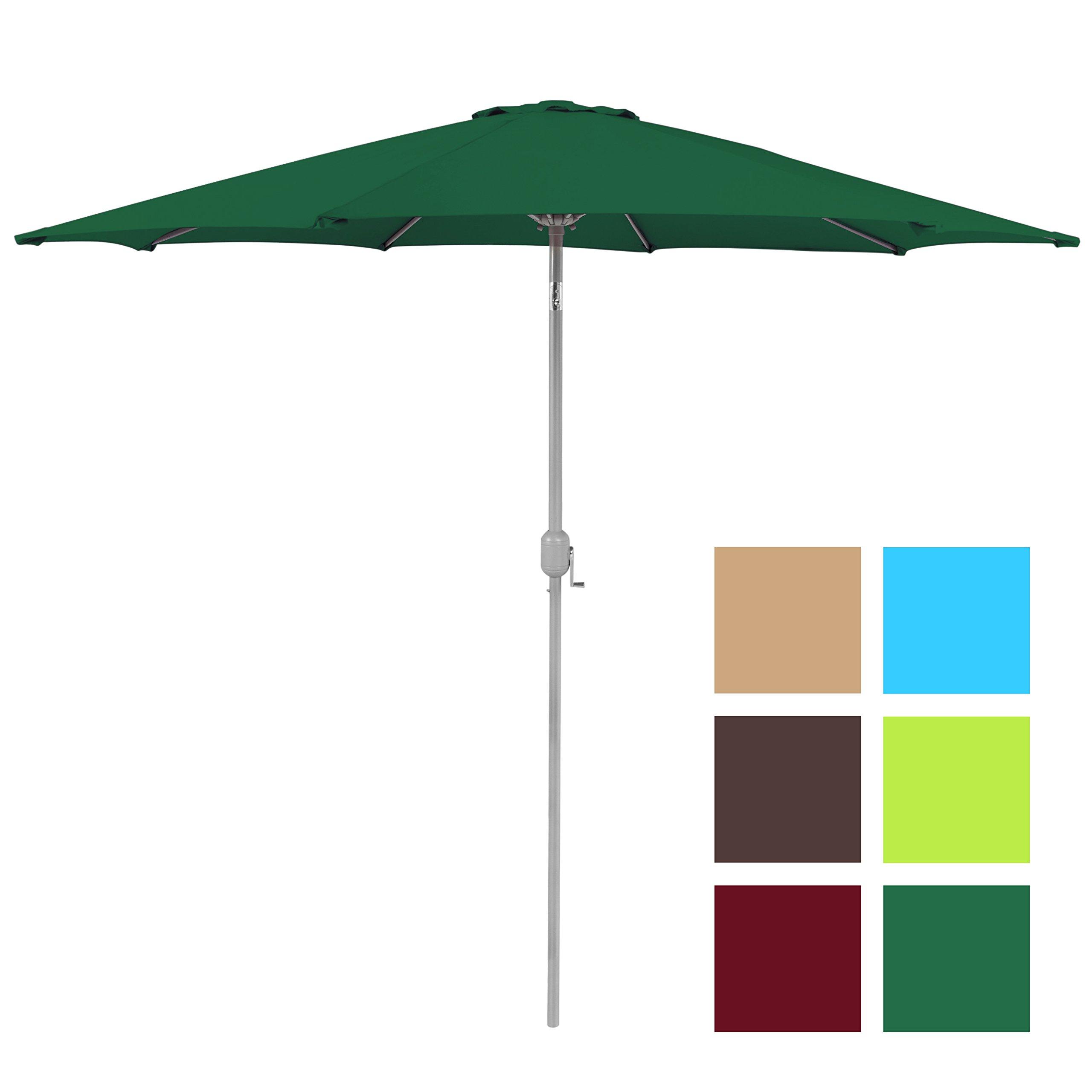 Best Choice Products Patio Umbrella 9ft Aluminum Outdoor Patio Market Umbrella w/Crank Tilt Adjustment - Green