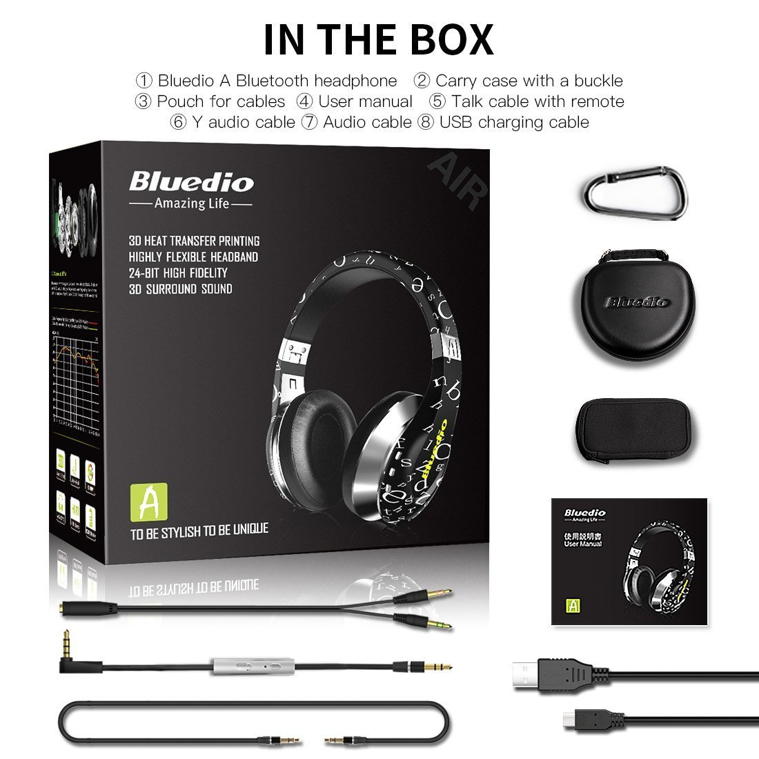 57e85f1b990 Amazon.com: Bluedio A(Air) Twistable Headset Stereo Wireless Bluetooth4.1  Headphone, Live in/Live Out, Comfortable earcups, Foldable & Adjustable  Headband ...