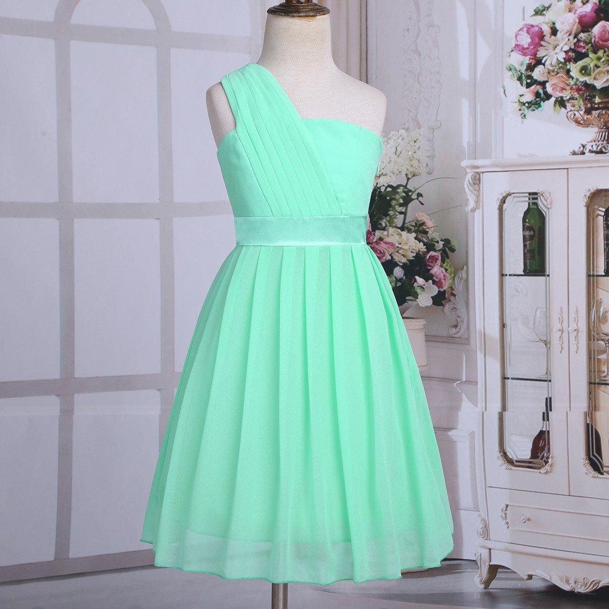 YiZYiF Flower Girls Dress Pleated Chiffon One Shoulder Wedding Bridesmaid Dance Prom Party Dresses