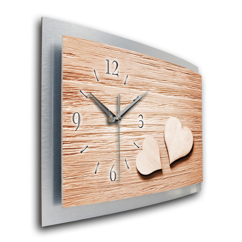 Funkuhr 3d Waa060fl50x30cm Herz Leise Liebe Wandbild Modernes Holz Funk Wanduhr Kreative Design Motiv Xxl Feder Designer JFT3Kcl1
