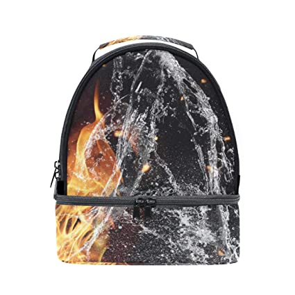 9244e6c3b295 Amazon.com - HEOEH Awesome Fire Ice Water Lunch Bag Insulated Lunch ...