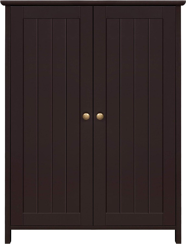 YAHEETECH Bathroom Floor Storage Cabinet, Freestanding Wooden Cupboard with 2 Durable Doors and Adjustable Shelf Inside, Home Organizer Cabinet Espresso