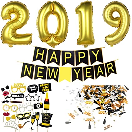 Decoracion Nochevieja 2019   Banderinas Feliz Año Happy New Year + Globos Gigantes + Accesorios de