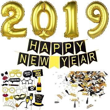 Decoracion Nochevieja 2019   Banderinas Feliz Año Happy New Year + Globos Gigantes + Accesorios de Fotomaton + Confeti para Fiesta de Víspera de Año: ...
