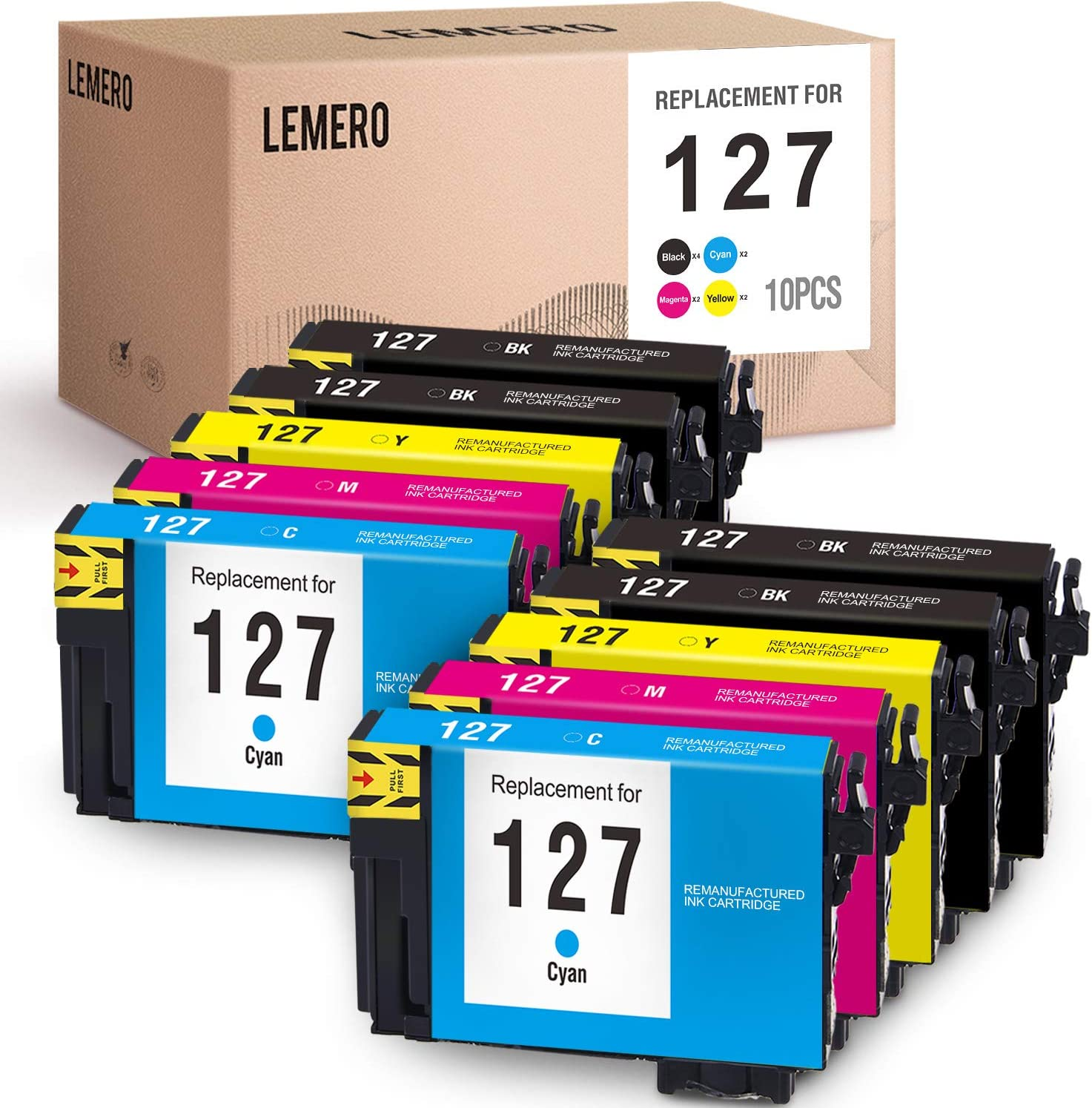 LEMERO Remanufactured for Epson 127 T127 Ink Cartridges - for Epson Workforce 545 845 630 645 840 633 635 WF-3520 WF-3540, 10 Pack