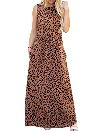 6f08218b34 ZESICA Women's Floral Print Long Sleeve Pockets Empire Waist Pleated Long  Maxi Dress Brown