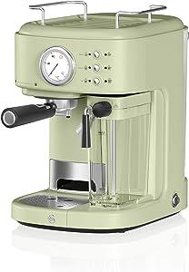 Swan Retro One Touch Espresso Machine, Green, 20 Bars of Pressure, Milk Frothing Steamer, 1.7L Tank, Retro style, SK22150GN, Espresso Maker