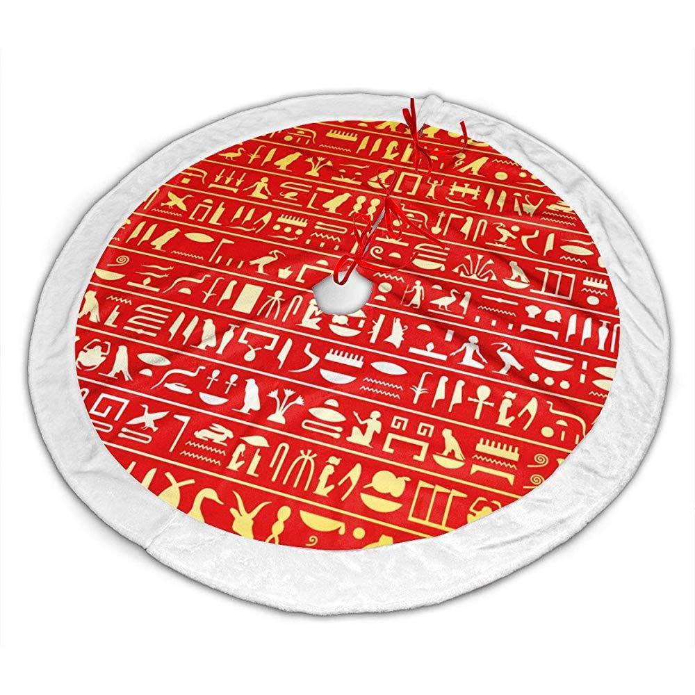 Myrdora Falda de árbol de Navidad de patrón Egipcio Amarillo ...