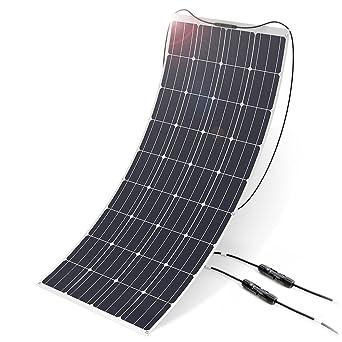 Panel Solar ALLPOWERS 160W 18V 12V Modulo Solar (con la Capa de ETFE, Conectadores MC4) Cargador Solar Flexible para RV, Barco, Cabina, Tienda, Coche, ...