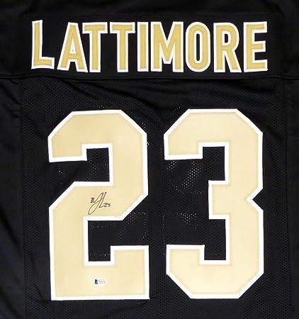 Image Unavailable. Image not available for. Color  New Orleans Saints  Marshon Lattimore Autographed Black Jersey ... da928ccf0