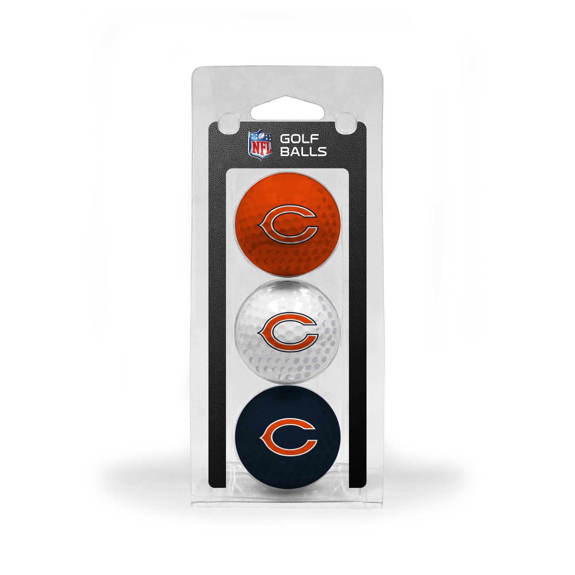 Team Golf NFL Chicago Bears Regulation Size Golf Balls, 3 Pack, Full Color Durable Team Imprint