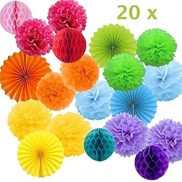 Decoracion Cumpleaños Multicolor, Pompones de Papel de Seda, Flores Pompom, Abanicos, Bolas de Nido de Abeja Guirnaldas. Decoración para Boda, ...
