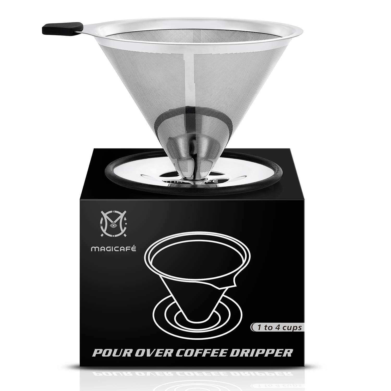 Magicafé Pour Over Coffee Dripper - Stainless Steel Micro mesh Filter Fits Most Travel Mugs,Tea And Coffee Cups