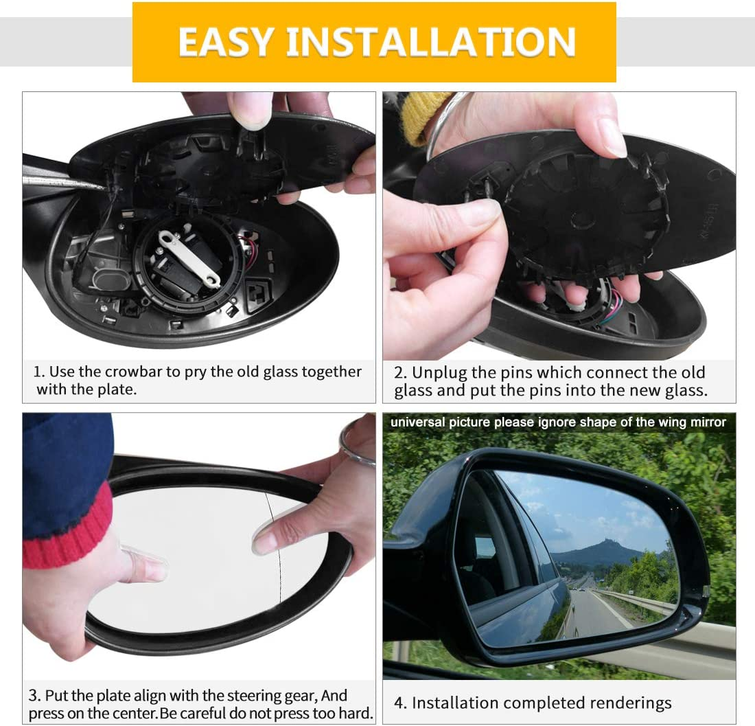 X AUTOHAUX Mirror Glass Heated with Backing Plate Driver Side Left Side Rear View Mirror Glass for 2007-2015 BMW Mini Cooper