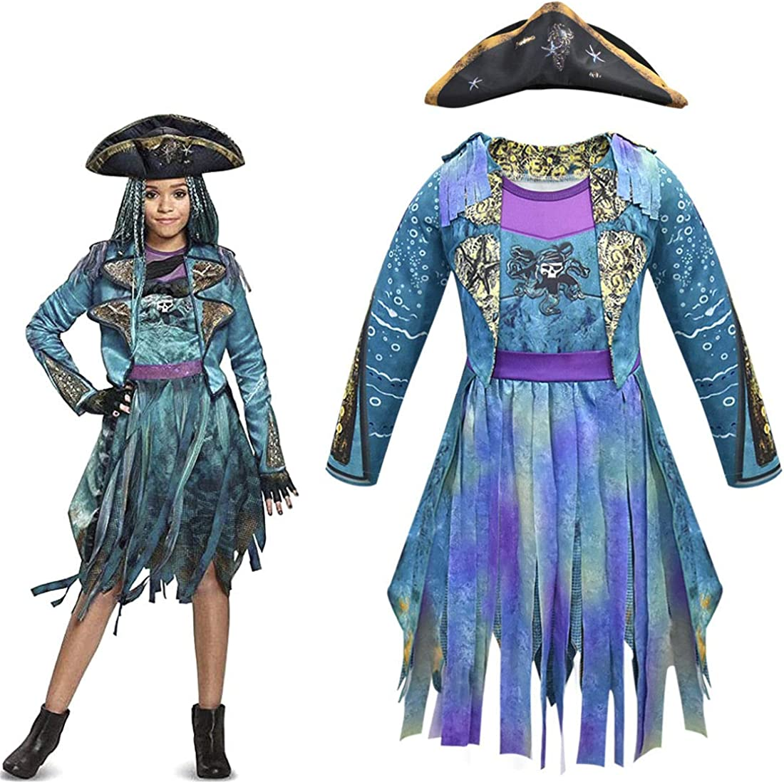 Halloween Girls Uma Descendants 3 Cosplay Costume Birthday Party Dress Up Performance Dress Outfits with Hat