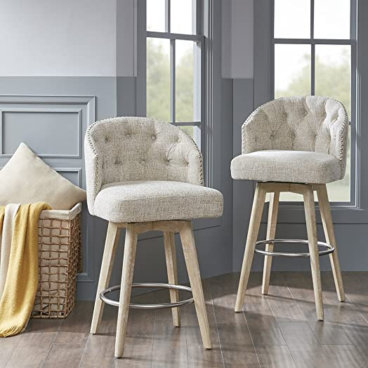 Madison Park Onyx Counter Height Swivel Barstool Modern Solid Wood