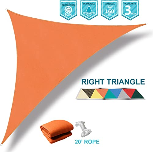 Coarbor 16 x16 x23 Right Triangle Orange UV Block Sun Shade Canopy Perfect for Patio Yard Deck Outdoor Garden
