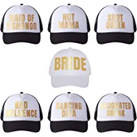 POP FIZZ DESIGNS Bachelorette Trucker Hats I 7 Pack I 1 Bride Hat 6 Bride Tribe Hats