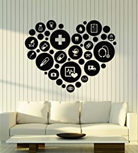 Vinyl Wall Decal Medical Office Health Clinic Hospital Pharmacy Stickers Mural Large Decor (g2983) Black