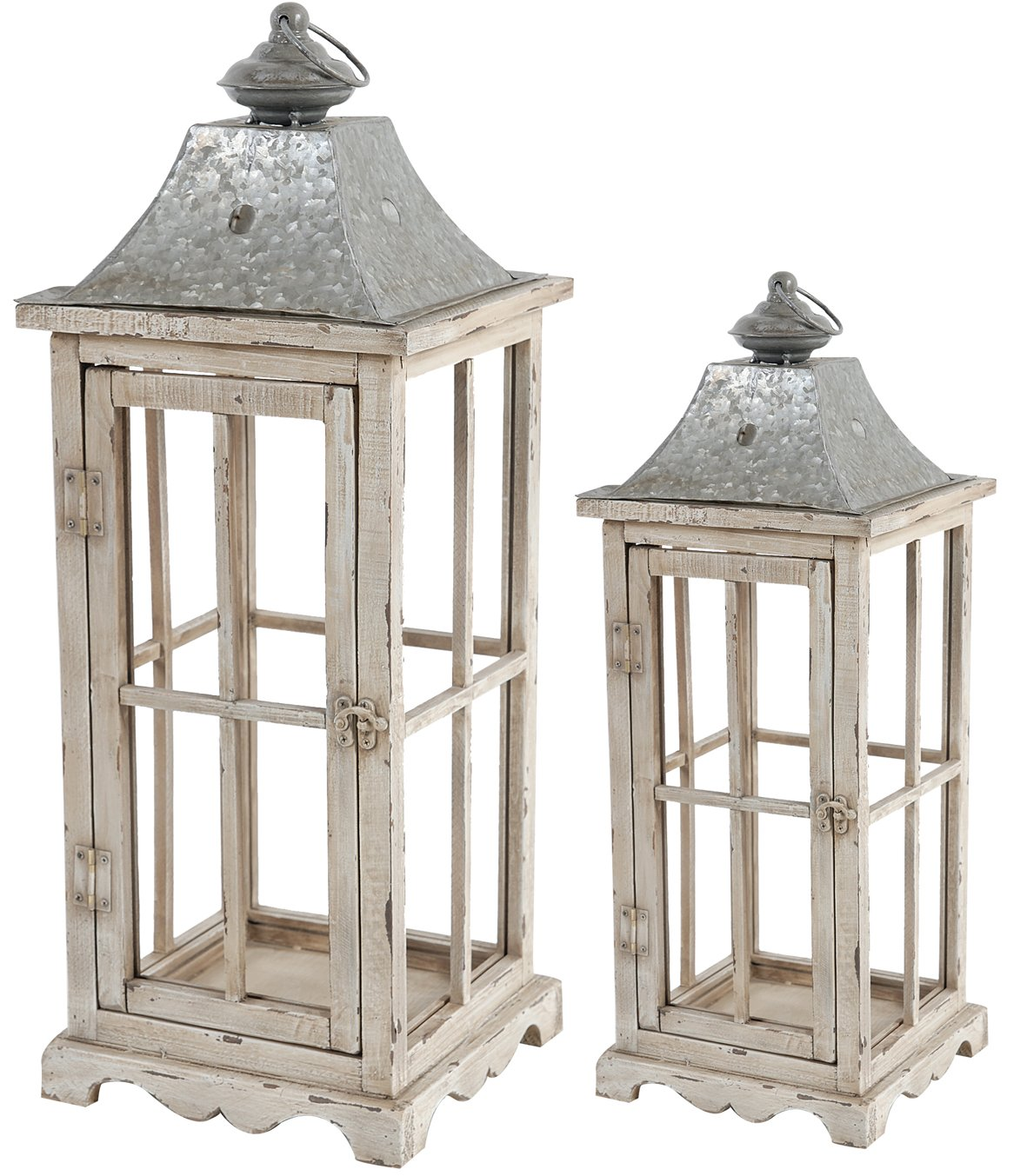 A&B Home 32877 Evelyn Enclosed Lanterns With Handle, Square, Set of 2