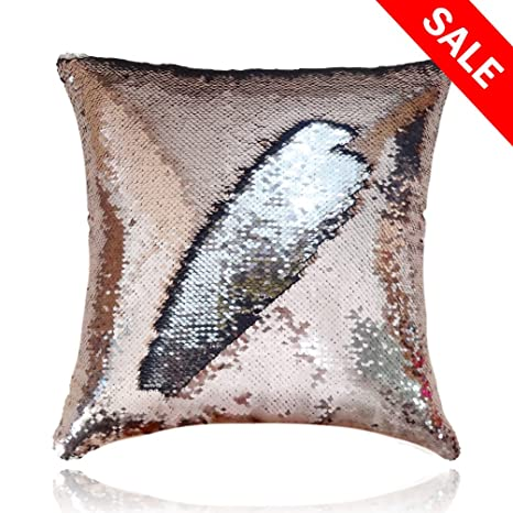 """Reversible Sequins Mermaid Pillow 16/""""x16/"""" Silver//Gold"""