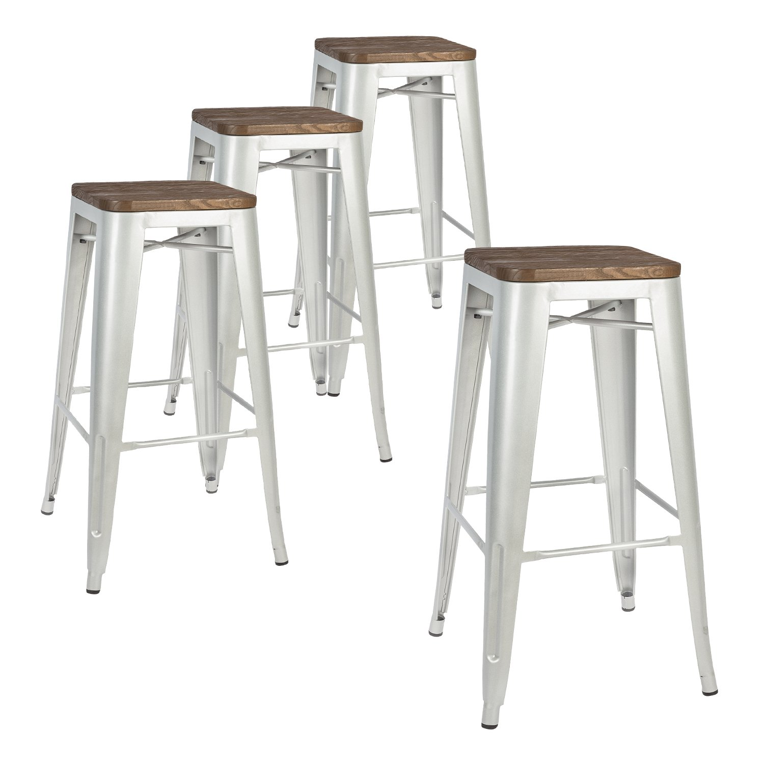 LCH 30 Inches Metal Industrial Bar Stools, Set of 4 Indoor/Outdoor Counter Stackable Barstool with Wood Seat, 500LB Limit, Silver by HLC