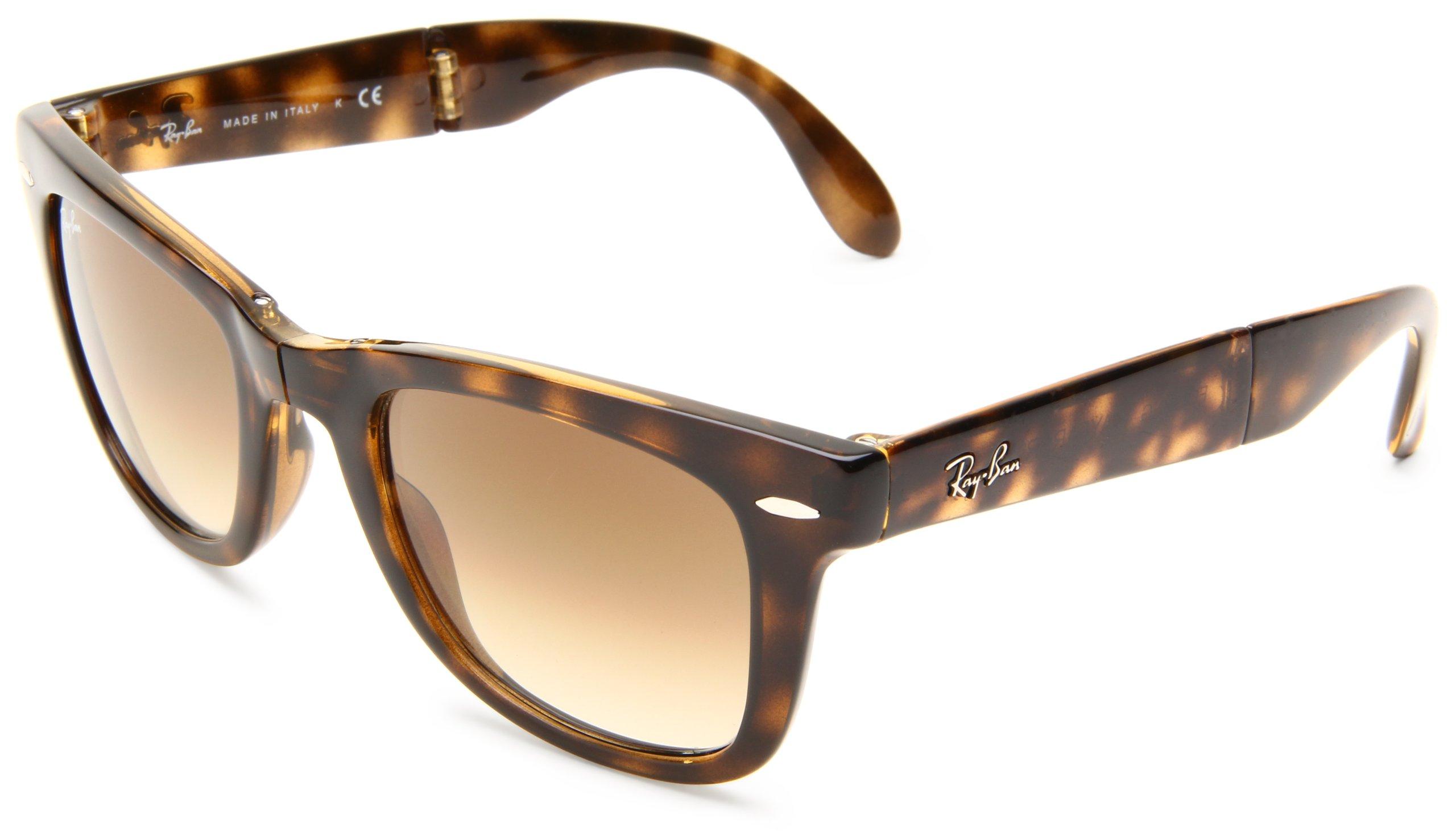 Ray-Ban Men's Folding Wayfarer Square Sunglasses, Light Havana & Crystal Brown, 50 mm