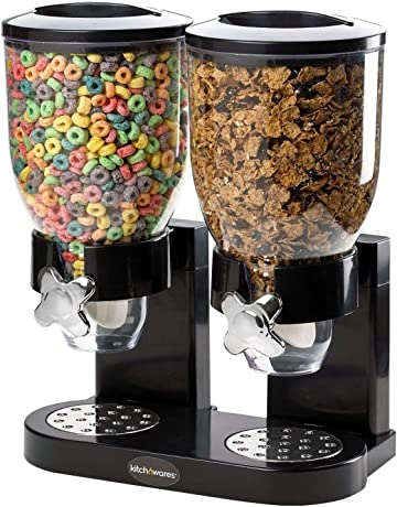 Doble almacenador negro, dispensador de cereales para alimentos secos. Organizador de cereales con diseñ