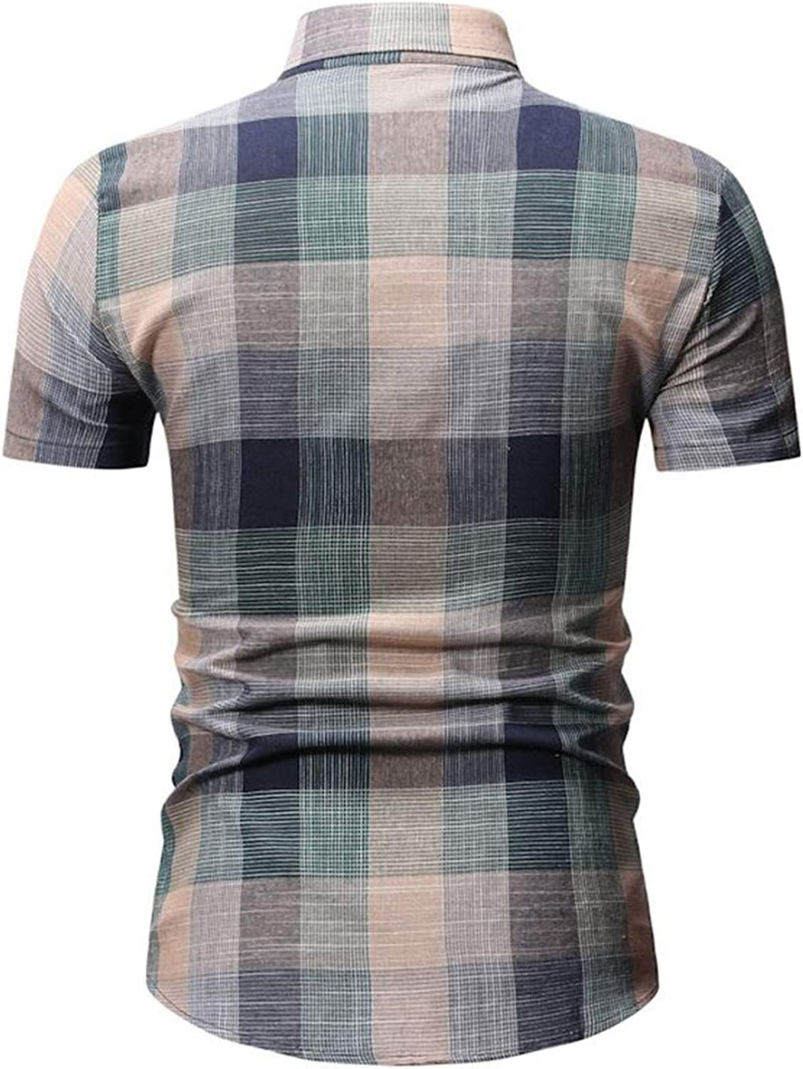 Summer Mens Shirt Short Sleeve Plaid Fashion New to Lapel Casual Tops,Red,XL,United States