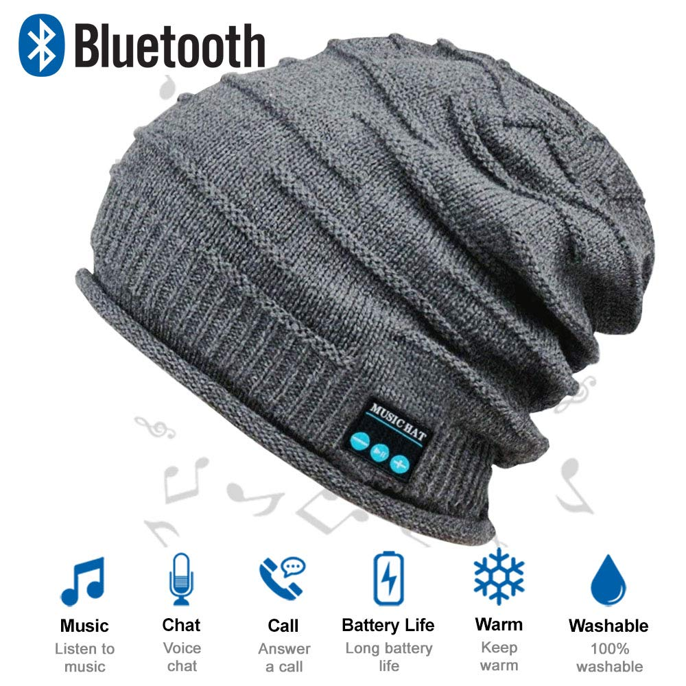HighTechLife Upgraded Wireless Bluetooth Beanie Hats Headphones V4.2,Knit Hats Built-in HD Stereo Speakers & Microphone, Unique Christmas Tech Gifts for Men/Dad/Women/Mom/Teen Boys/Girls