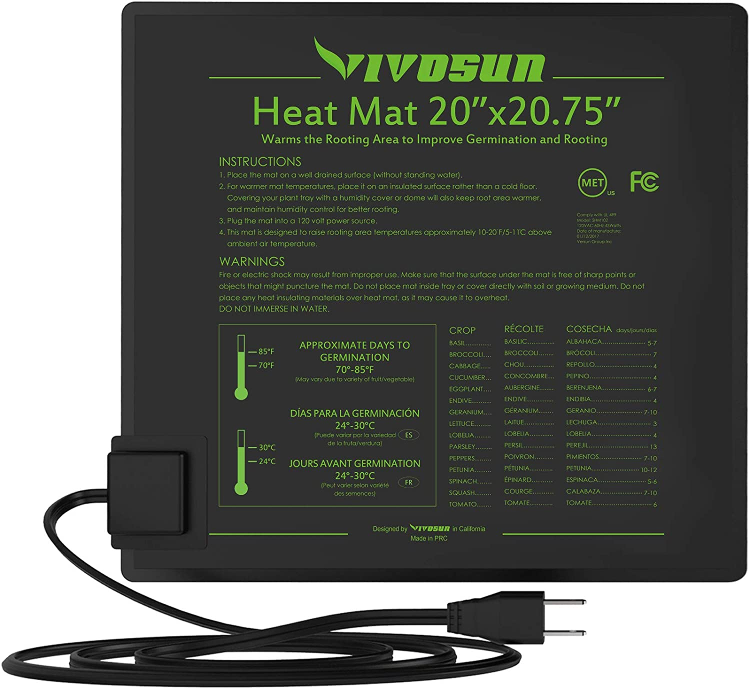 "VIVOSUN Durable Waterproof Seedling Heat Mat Warm Hydroponic Heating Pad 20"" x 20"" MET Standard"