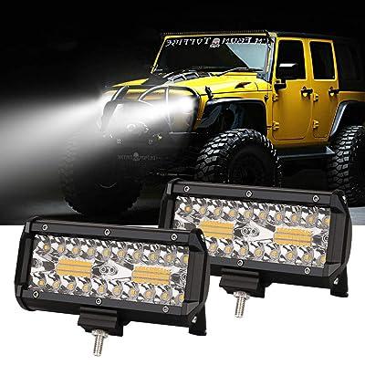 7Inch Led Light Bar 240W 24000lm Fog Light Pods Spot Flood Combo Driving Light Waterproof Triple Row Off Road Lights for Trucks Trailer Pickup Buggy UTV SUV Boat 2Pcs: Automotive