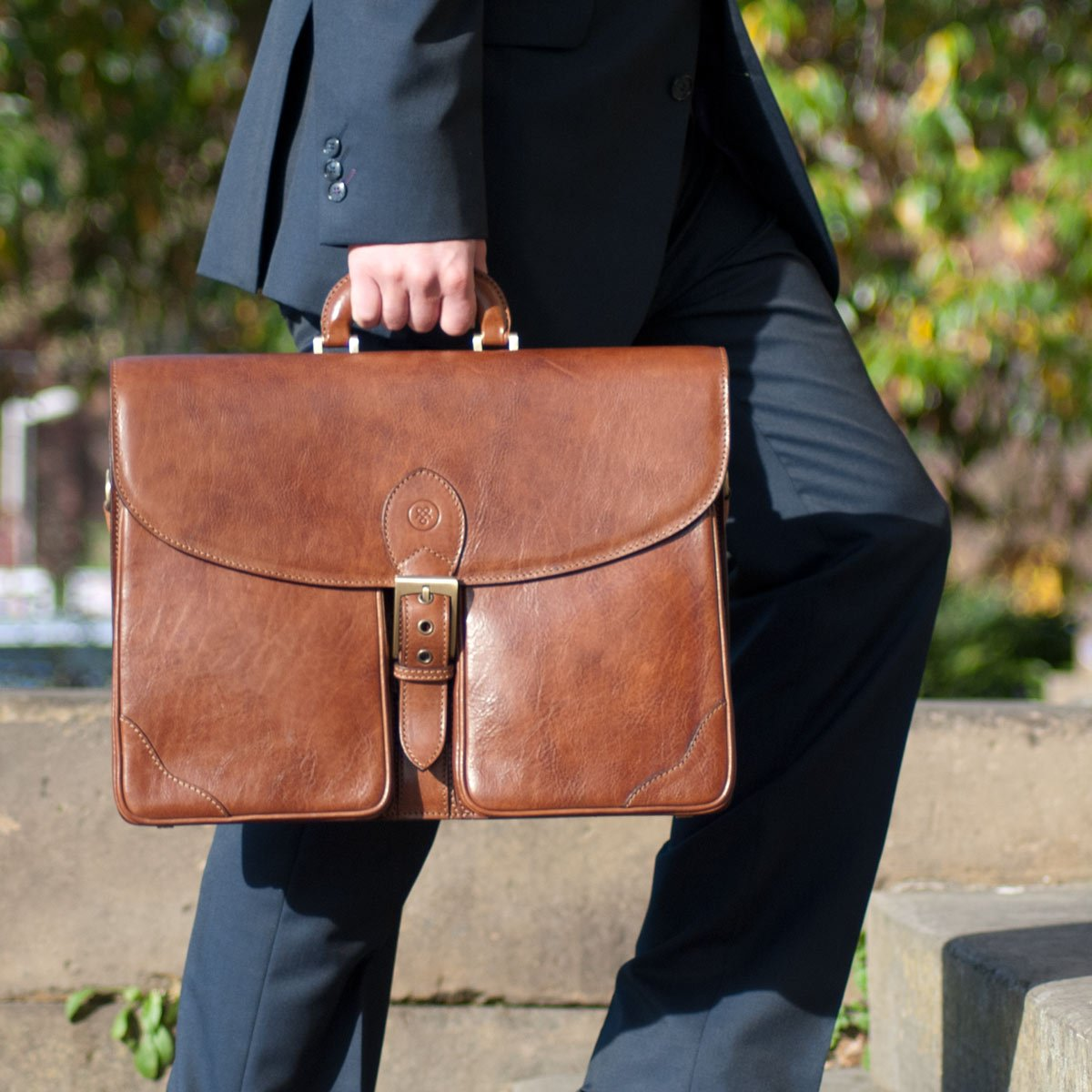 Maxwell Scott Personalized Luxury Tan Large Briefcase (The Tomacelli 3 section) by Maxwell Scott Bags (Image #8)