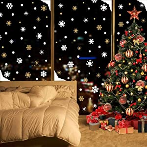 Snowflake Wall Decals(93 Decals), Christmas Winter Stickers,Gold Stars Dots Wall Art for Xmas Party Supplies Window Clings Nursery Decor