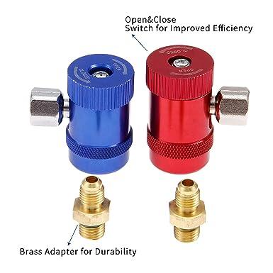 R1234yf R1234yf R1234yf Adaptateurs de connecteurs manuels avec port m/âle de 6,35 cm remplacement pour r/éfrig/érants A//C Ensemble de jauge de collecteur