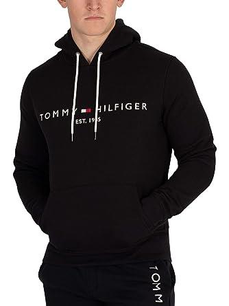 Tommy Hilfiger Hombre Sudadera con Capucha de Logo, Negro, Large: Amazon.es: Ropa y accesorios