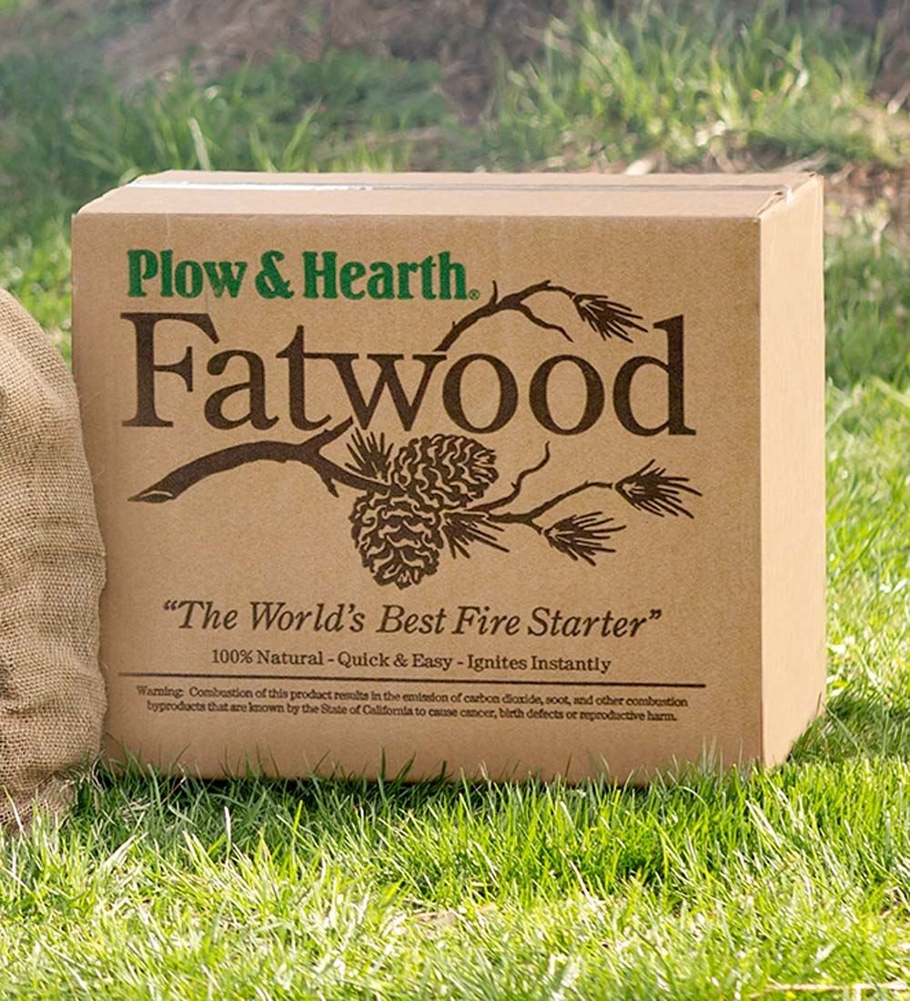 Fatwood 50 LB Box Fire Starter All Natural Organic Resin Rich Eco Friendly Kindling Sticks for Wood Stoves, Fireplaces, Campfires, Fire Pits, Burns Quickly and Easily, Safe and Non Toxic by Plow & Hearth