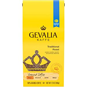 Gevalia Traditional Mild Roast Ground Coffee (12 oz Bags, Pack of 6)