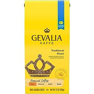 Gevalia Traditional Mild Roast Ground Coffee (12 oz Bags, Pack of 6)
