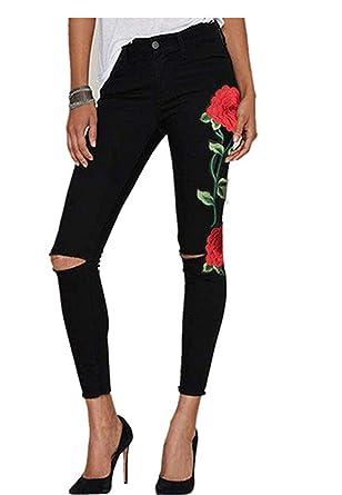 Longra Bordado Rosa-Imprimir, Cintura Alta Pantalones Jeans Mujer Elástico Flacos Vaqueros Leggings Push up Mezclilla Pantalones