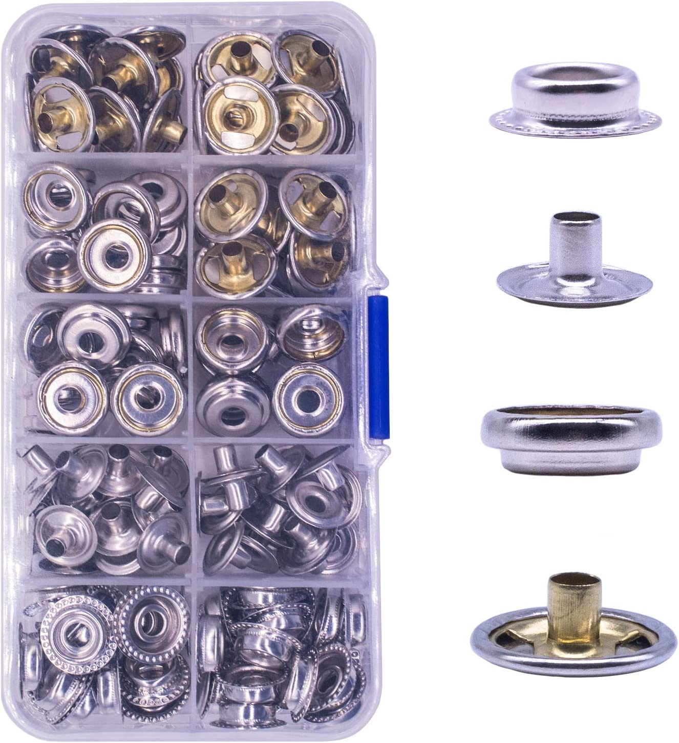 100pcs Fastener Snap Press Stud Cap Button Marine Boat Canvas Stainless Steel US