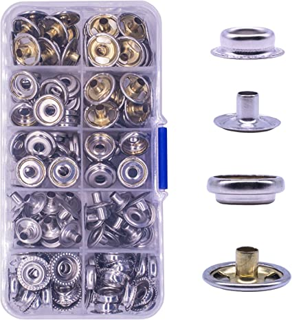 40 Sets 10mm 15mm Stainless Steel Boat Cover Snap Screw Fastener Buttons