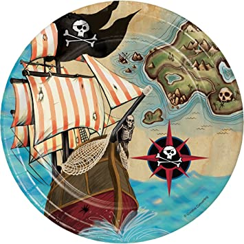 Creative Converting 415969 Platos de postre con diseño de mapa de pirata, 8 unidades, multicolor: Amazon.es: Juguetes y juegos