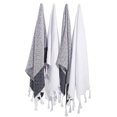 (Set of 4) Turkish Cotton Hand Face Head Gym Yoga Towel Set Wash Dish Cloths - 2 Black 2 White