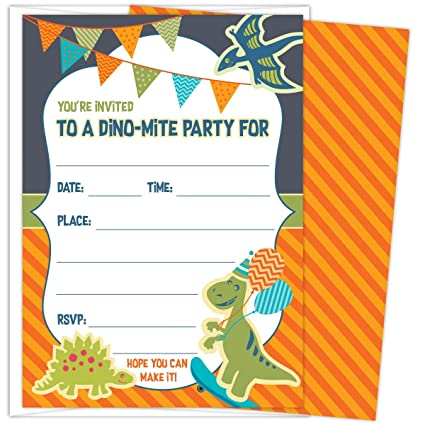 Koko Paper Co Dinosaur Party Invitations For Kids Birthdays Or Baby Showers Set Of