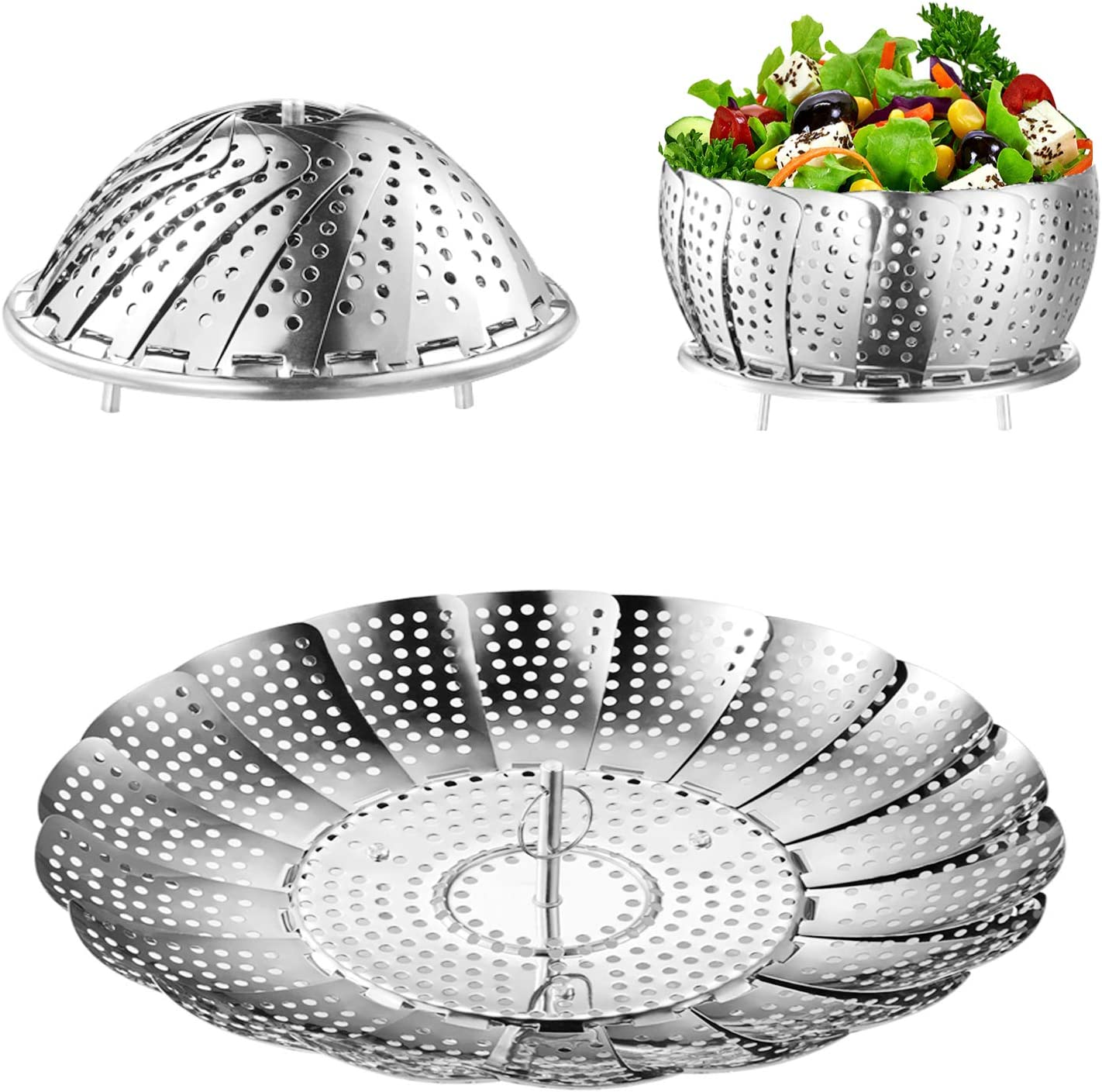 "Steamer Basket, Kmeivol Vegetable Steamer, Stainless Steel Steamer Food, Value Steamer Baskets for Cooking, Instant Pot Steamer Basket, Expandable to Fit Various Size Pot (6"" to 8.7"")"