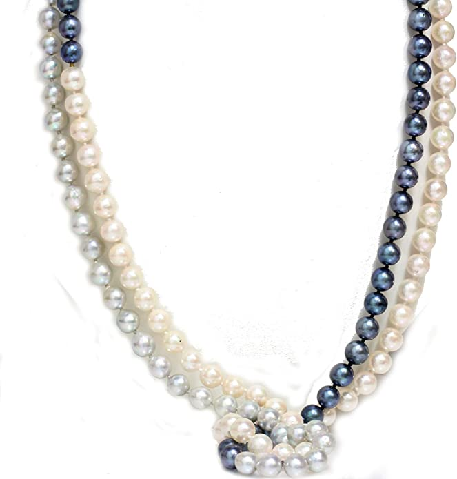 Fashion Women/'s 2Rows 7-8mm Natural Purple Akoya Cultured Pearl Necklace 17-18/'/'