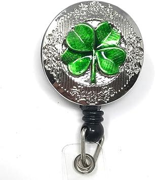 Green Pinch Proof St Patricks Day Shamrock Badge Reel or Lanyard with FREE ID Holder  Green Shamrock Bookmark or Teacher Planner Clip