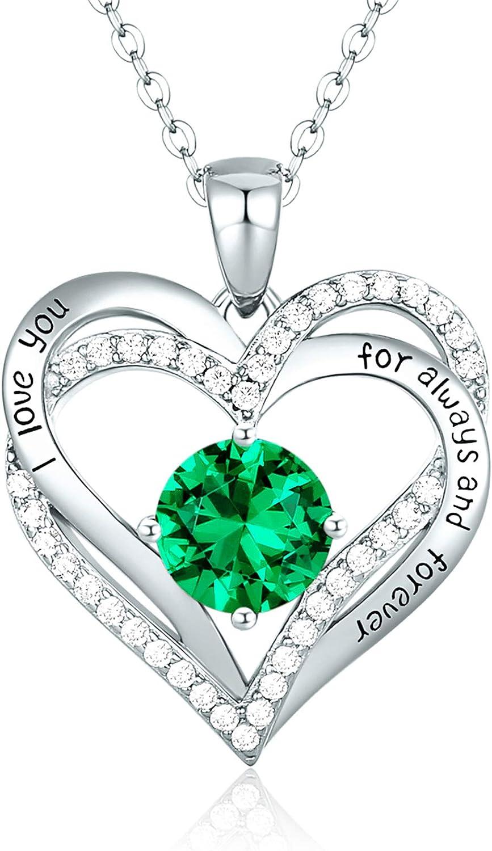CDE Collar Corazón Forever Love Plata de Ley 925 Chapado en Oro Rosa Collares Pendientes de Piedra Natal para Mujeres con 5A Cubic