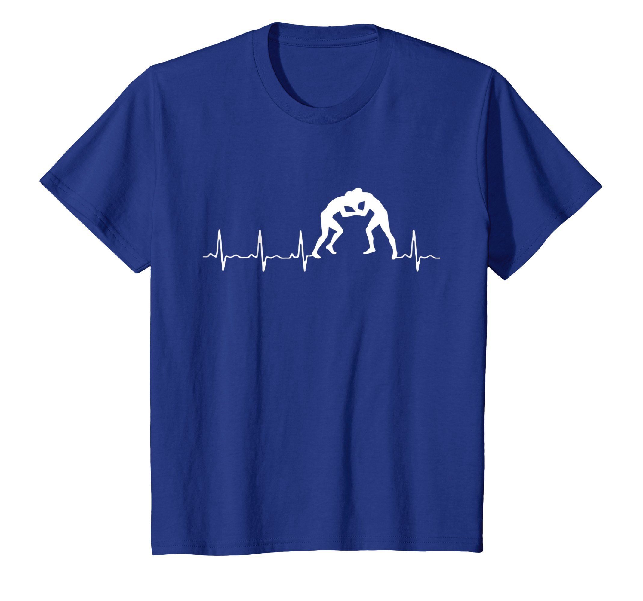 Kids Wrestling Apparel - Heartbeat T-shirt for Moms, Coaches 12 Royal Blue